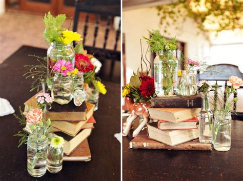 cheap books for decoration vintage bottles wedding centerpieces with books and