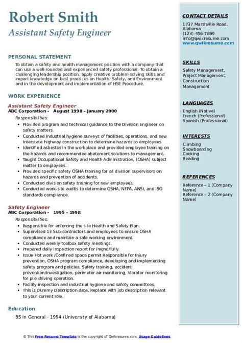 safety engineer resume samples qwikresume
