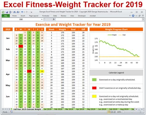 excel fitness weight tracker year spreadsheet printable
