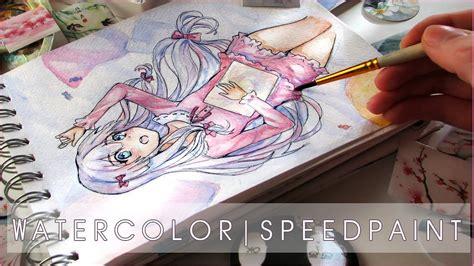 watercolor anime girl speedpaint eromanga sensei youtube