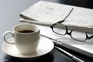Laptop, And, A, Cup, Of, Coffee, On, Office, Desk, Stock, Photo