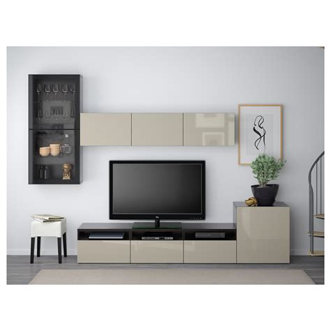 ikea bestã best 197 tv storage combination glass doors black brown selsviken high gloss beige clear glass