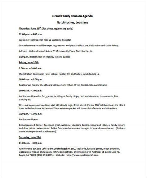 reunion agenda templates  word  format