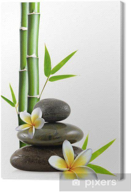 tableau sur toile fleurs de frangipanier galets zen