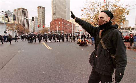 black bloc protestors  hoodies started  germany