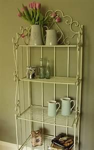 Metal cream shelf unit shabby vintage chic bathroom for Metal bathroom shelving unit