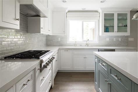 gray brick tile kitchen backsplash transitional kitchen