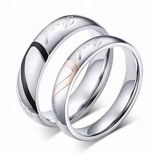 fashion heart ring his and her promise rings sets With stainless steel wedding rings for her