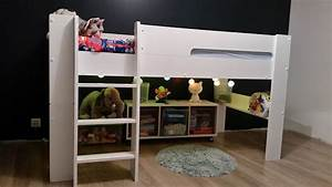 Lit En Hauteur Enfant : lit mi hauteur enfant wax blanc 90x190 cm ~ Melissatoandfro.com Idées de Décoration