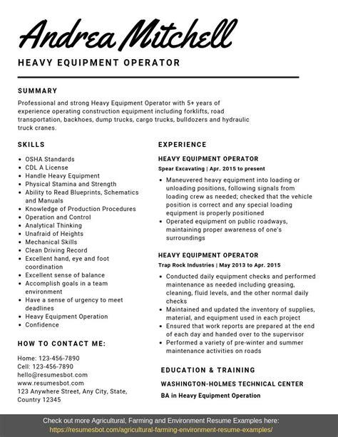 Heavy Equipment Operator Resume by Heavy Equipment Operator Resume Sles Templates Pdf