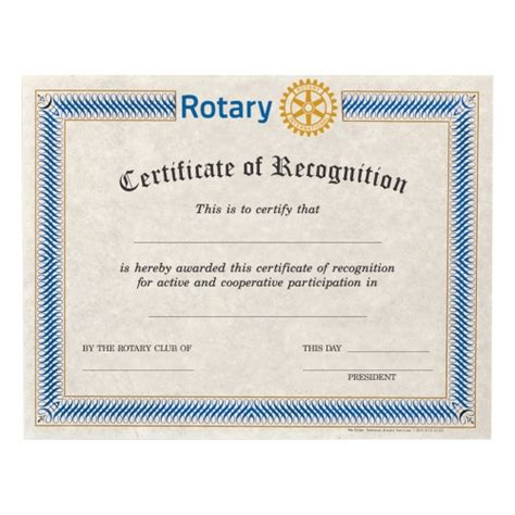 Rotary Club Certificate Template by Certificate Of Recognition National Award Services
