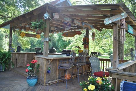 Backyard Tiki Bar by Bbq Shack But With Wood Corregated Metal Cabinets Deck