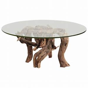 driftwood coffee table round glass top for sale at 1stdibs With glass top coffee tables for sale