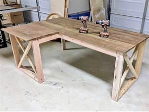 l shaped x desk in 2020 diy office desk diy wood