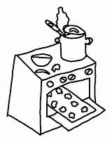 Oven Coloring Cookies Baking Kitchen Stove Drawing Template Sketch Place Getdrawings Clipartmag sketch template