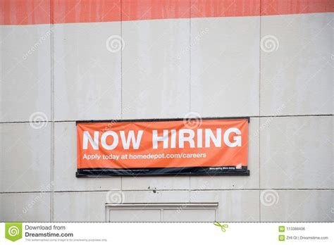 Home Depot Now Hiring by The Home Depot Now Hiring Banners Editorial Photo Image
