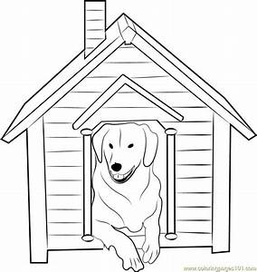 Dog House with Dog Inside Coloring Page - Free Dog House ...