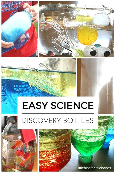 science discovery bottles for sensory learning 708 | Science discovery bottles for kids that explore the ocean density magnetism tornados bubbles and more science ideas.