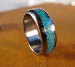 titanium wedding rings womens titanium ring turquoise ring wedding ring mens ring womens