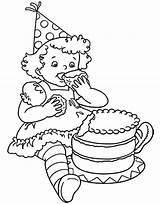 Coloring Cake Birthday Pages Eat Chocolate Drawing Netart Getdrawings sketch template