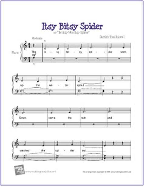 Thanks to the joys of the internet most people now prefer to search for free printable piano sheet music for popular songs, rather than buy song books. Itsy Bitsy Spider | Free Beginner Piano Sheet Music