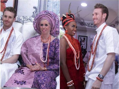 white family wears aso ebi  nigerian lady benin