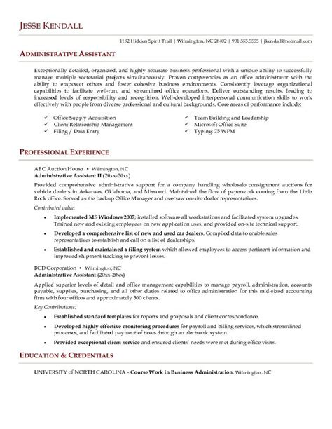 Exle Of Resume Objective For Administrative Assistant by L R Administrative Assistant Resume Letter Resume