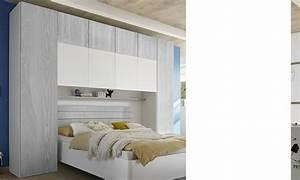 Pont De Lit Blanc : pont pour lit gris et blanc design natheo 4 ~ Teatrodelosmanantiales.com Idées de Décoration