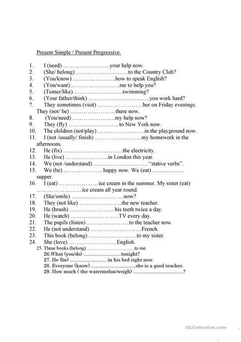 stative verbs worksheet  esl printable worksheets