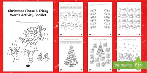 * New * Christmas Phase 4 Tricky Words Activity Booklet Eyfs