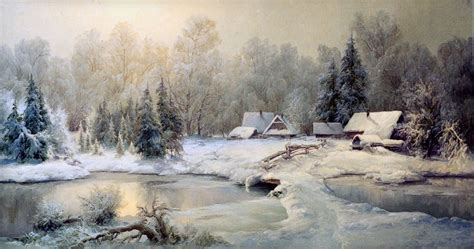 outdoor snow scene  oil painting snow river forest