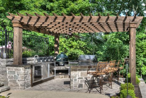 Modern Rustic Ceiling Fan by Green Egg Outdoor Kitchen Patio Traditional With Built In