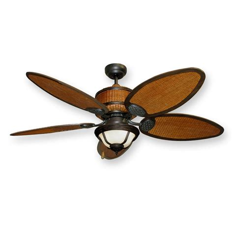 isle tropical ceiling fan w light 52 quot real rattan