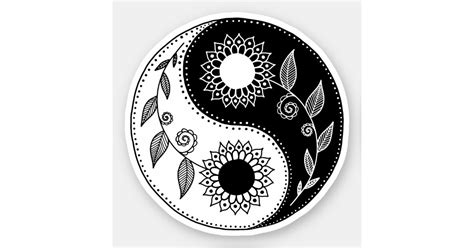 floral yin yang symbol sticker zazzle