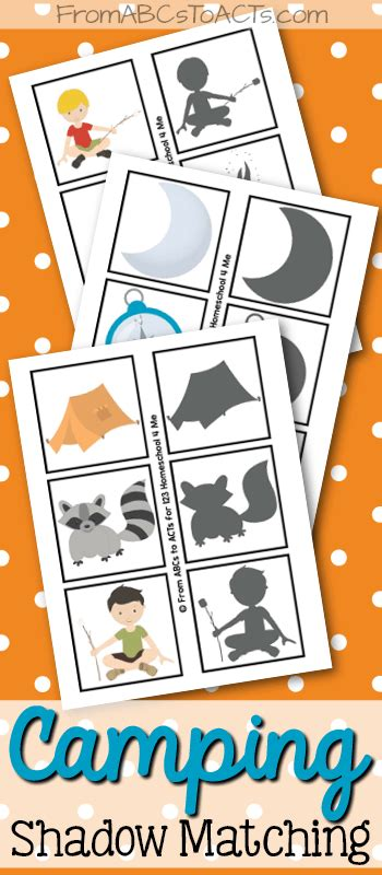 printable camping themed shadow matching from abcs to acts 964 | Preschool Camping Shadow Matching