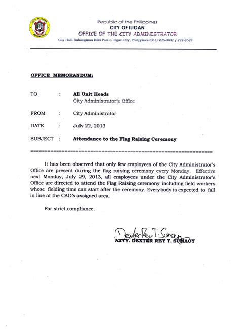 Time Policy Exles Just B Cause Office Memo Regarding Attendance Just B Cause