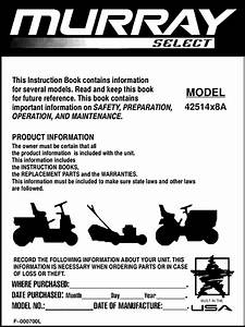 Murray 42514x8a F 000700l User Manual Lawn  Tractor