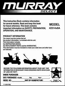 Murray 42514x8a F 000700l User Manual Lawn  Tractor