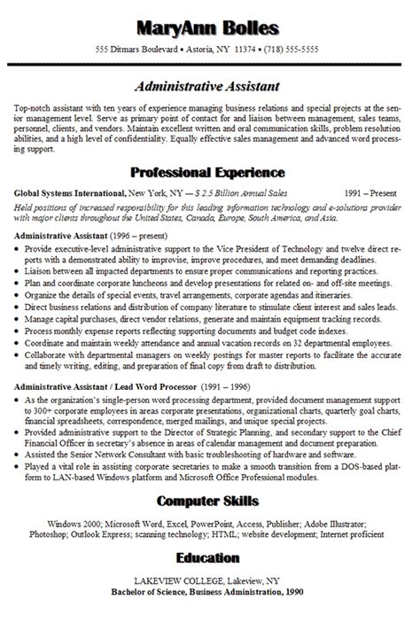 sample resume  administrative assistant