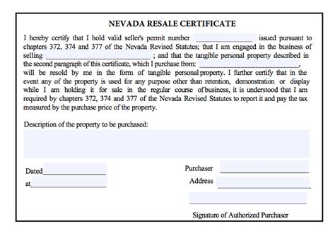 nevada resale certificate