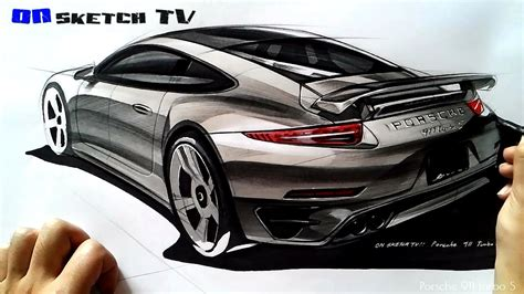 tv car sketch porsche  turbo  sketch color