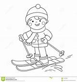 Coloring Skiing Winter Sports Cartoon Outline Boy Preview sketch template