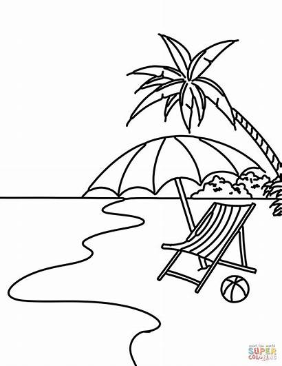 Coloring Beach Pages Summer Scene Printable Drawing