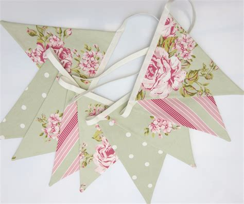 shabby chic bunting fabric bunting sage green and pink cottage chic bunting