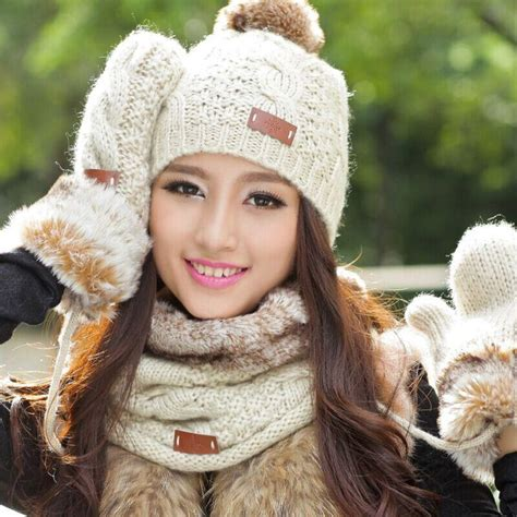 autumn  winter thermal knitted set womens knitted hat