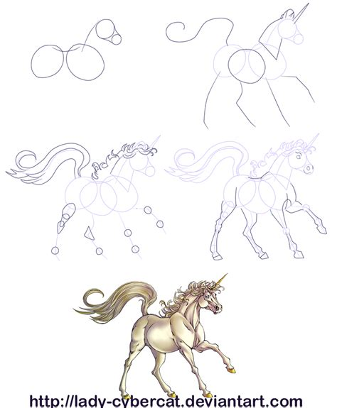 draw  unicorn tutorial  lady cybercat  deviantart