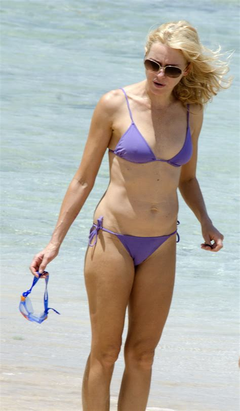 Naomi Watts showing her body in a bikini at the beach in ...