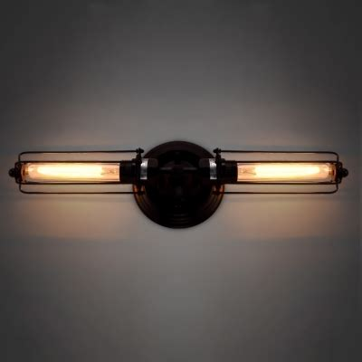 arm wall sconce mirror metal rustic 2 light wall