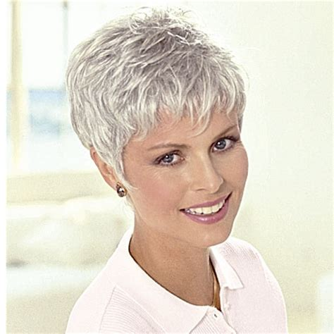 Women Over 50 Short Pixie Grey Wigs For Women Over 50