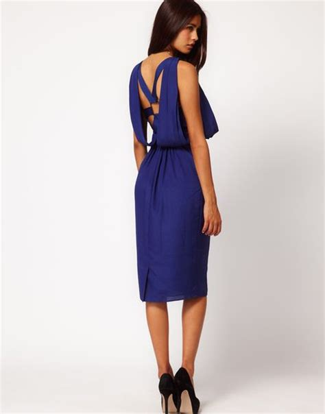 asos drape dress asos asos drape dress with back in blue lyst